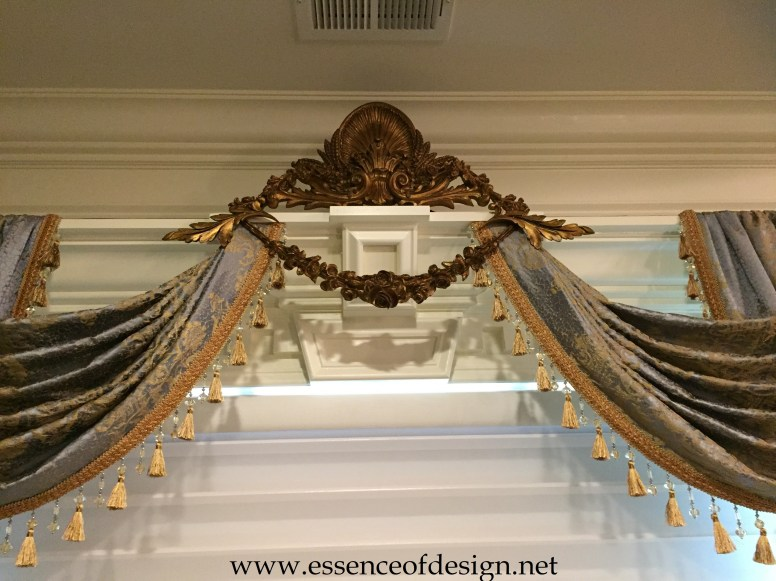 Potomac-Maryland-Interior-Designer-Shiva-Rostami-master-bedroom-Great-Falls-Va-custom-carved-drapes-blue-gold