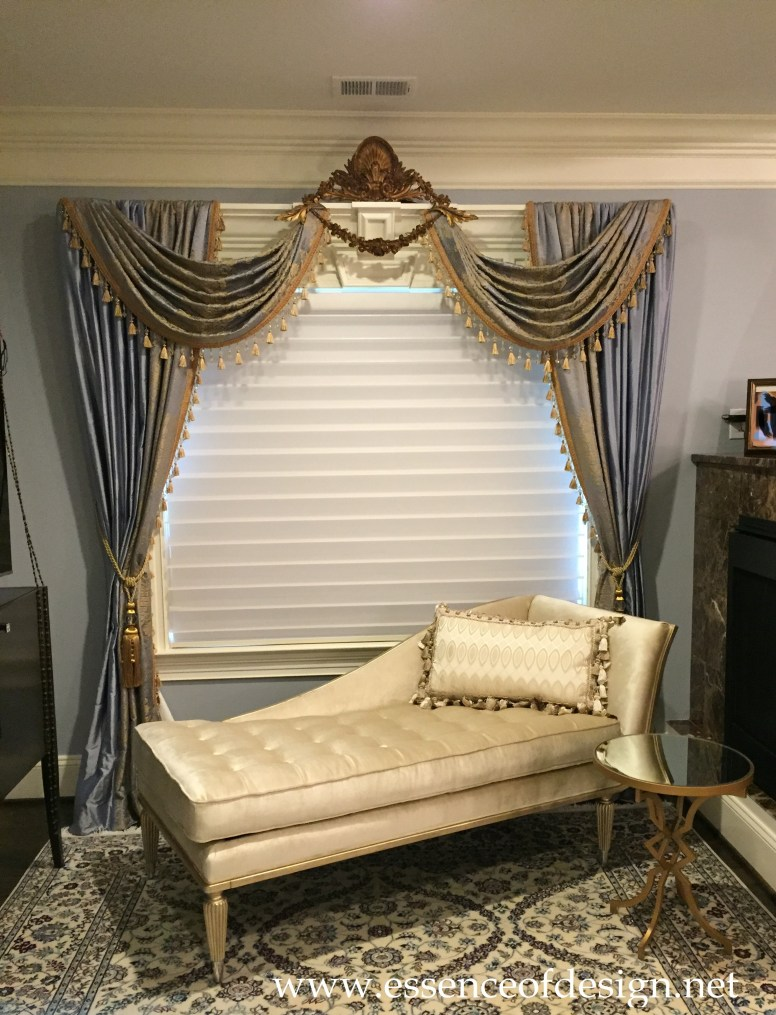 Potomac-Maryland-Interior-Designer-Shiva-Rostami-master-bedroom-Great-Falls-Va-custom-sitting-drapes-blue-gold