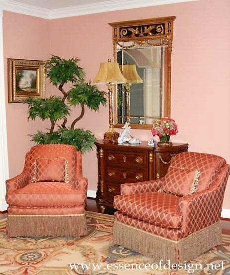 Potomac-Maryland-interior-designer-Shiva-Rostami-living-room-Cinnamon-Chairs--Topiary-tree-McLean-VA