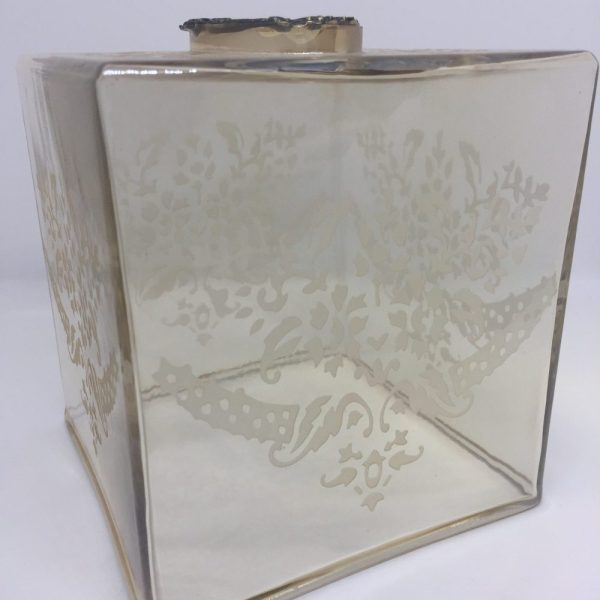 Glass Tissue Holder Golden Color With Design with antique brass accent