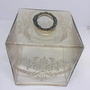 Glass Tissue Holder Golden Color With Design