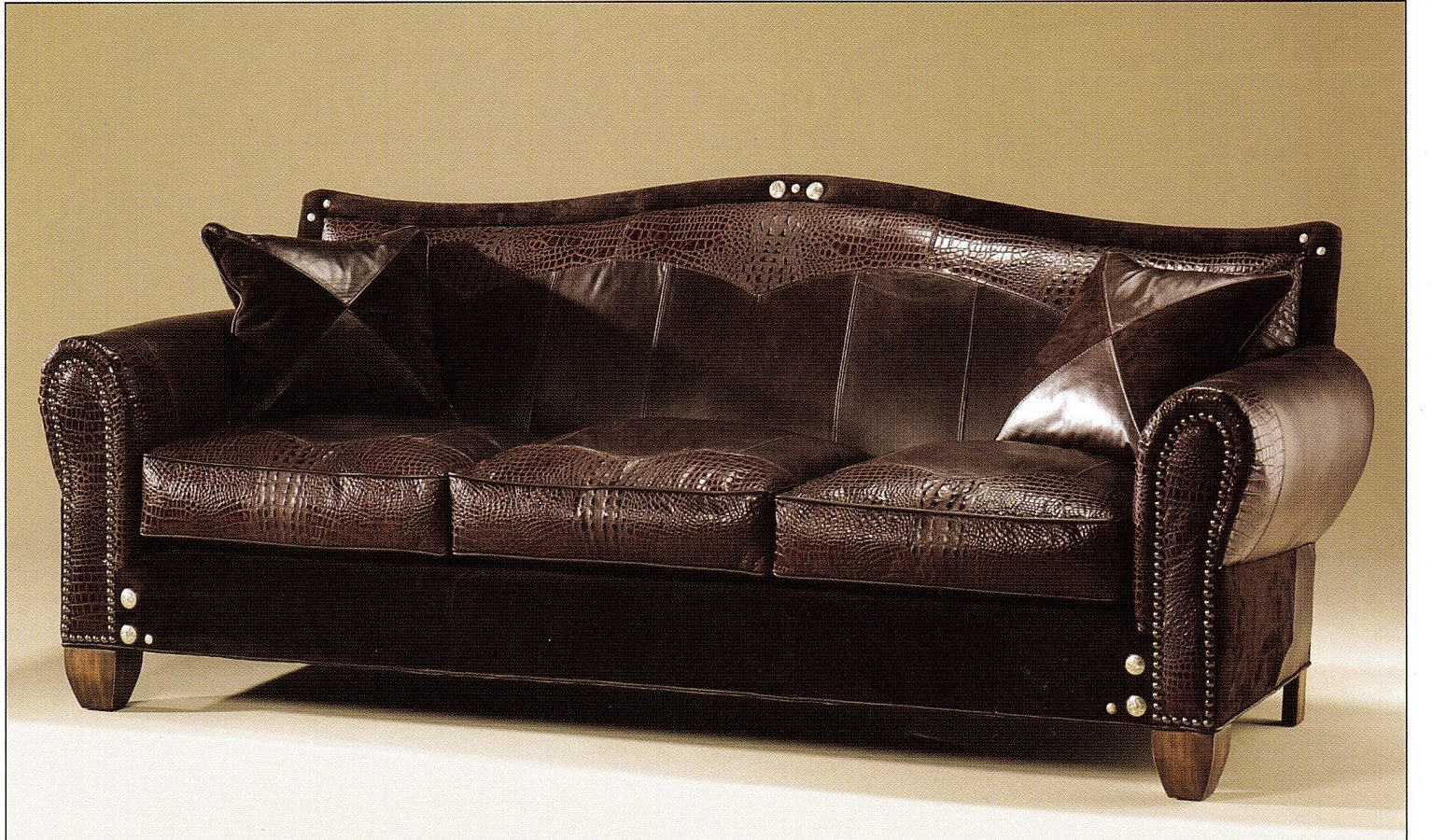 Maitland-Smith Sofa With 3 Seats in Chocolate Brown Faux Crocodile Leather  & Suede