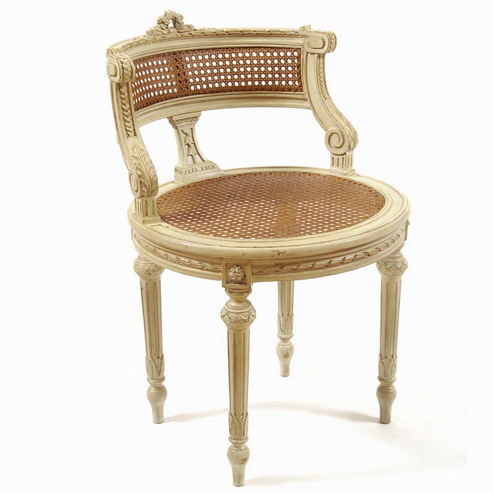 Fine Curved Back Vanity Stool In Antique Cream Gold Accents With Cane Seat Back Pdpeps Interior Chair Design Pdpepsorg
