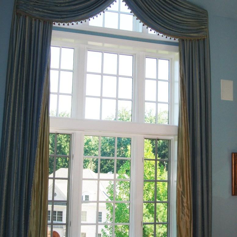 essenceofdesign.net-Potomac-Maryland-Interior-Designer-Shiva-Rostami-elegant-tall-custom-window-treatment-swags-panels-contrast-lining-McLean-VA