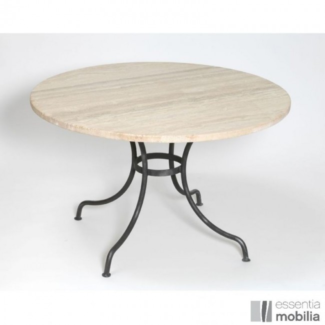 table ronde fer forge et plateau marbre ou granit authentique sur mesure