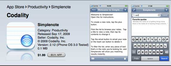 simplenote AOTD : Simplenote for iPhone and iPad