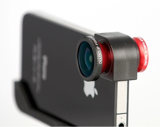Olloclip Lens Attached Olloclip : macro, wide angle and fish eye lense all in one.