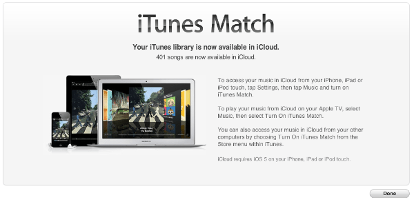 iTune Match Completed. iTunes Match Now Available in the UK