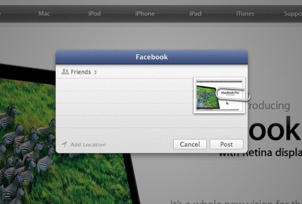 Mountain Lion Facebook Posting 600x406 What Does OS X Mountain Lion Facebook Integration Look Like?