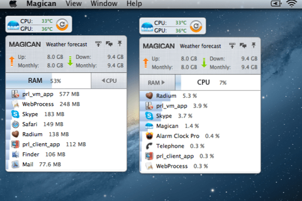 Magican Stats Widget Magican 1.3.1 Review : Helping Clean Your Mac & Protect Against Mac Trojans