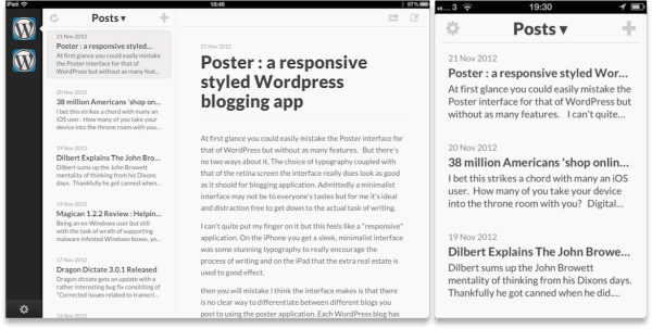 Poster InterFace 600x303 Poster : A beautiful, responsive styled Wordpress blogging app