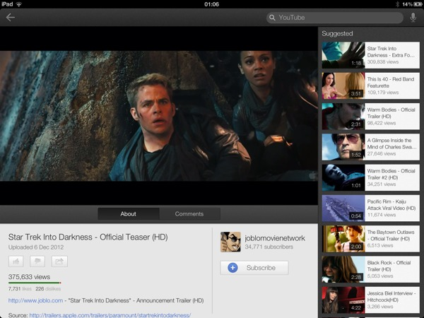 1354842494 YouTube iOS app updated : optimized for iPad ,  iPhone 5, and AirPlay streaming