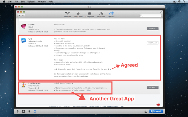 Glui Editing Screen1 600x375 Glui 1.1 : Capture, annotate and share screenshots, more than Just a Skitch Replacement