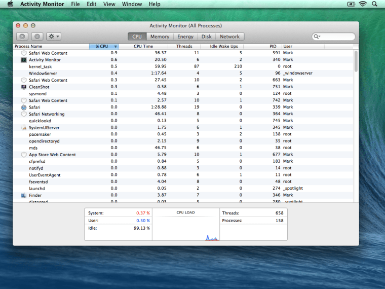 Mavericks Activity Monitor CPU OS X Mavericks Activity Monitor. Now with Energy Savings