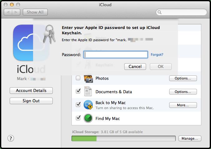 wpid 991169560 OS X Mavericks iCloud KeyChain Setup and Useage.
