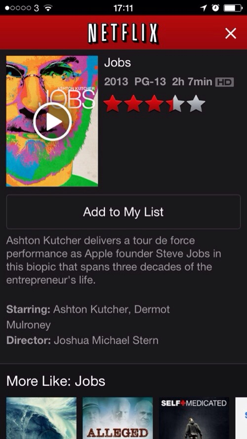 20140325 171411 jOBS now available on Netflix US