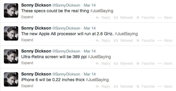 iPhone 6 Specs More ridiculous Rumors.  iPhone 6 Specs via twitter