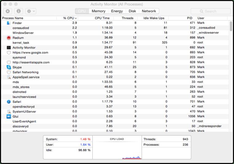 Yosemite Activity Monitor CPU Tab Differences Between OS X Yosemite And OS X Mavericks Activity Monitor
