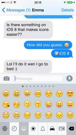 iMessage Emoji 2  247x440 Getting Around Messages in iOS 8