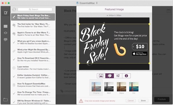 Black Friday Deal: Blogo The Best Wordpress App For Mac only $10