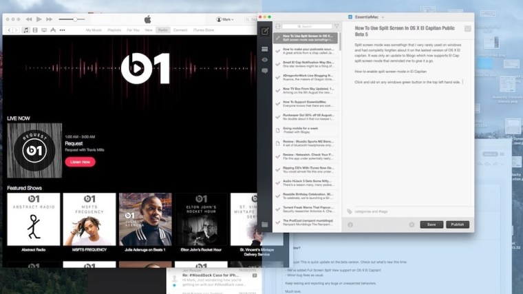 How To Use Split Screen In OS X El Capitan Public Beta 5
