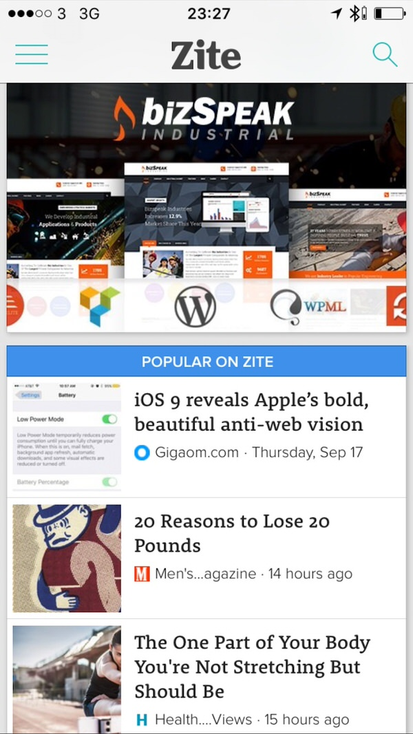 Zite News For You Apple News.  Basically Safari Reader View In Reverse