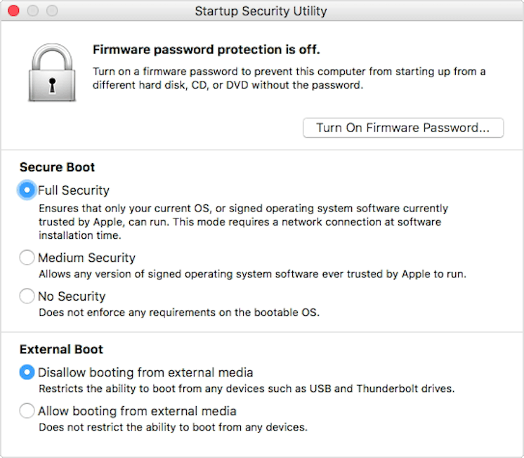 macos high sierra startup security utility The Apple T2 Chip and Your Security