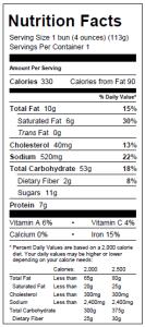 Kobe Bun Nutritionals