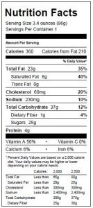 Pumpkin Spice Cake Nutritionals 10.12.15
