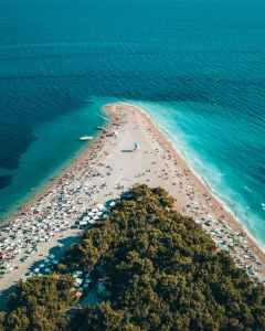 An overhead shot of a crowded beach