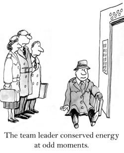 Image of Leader taking break in elevator
