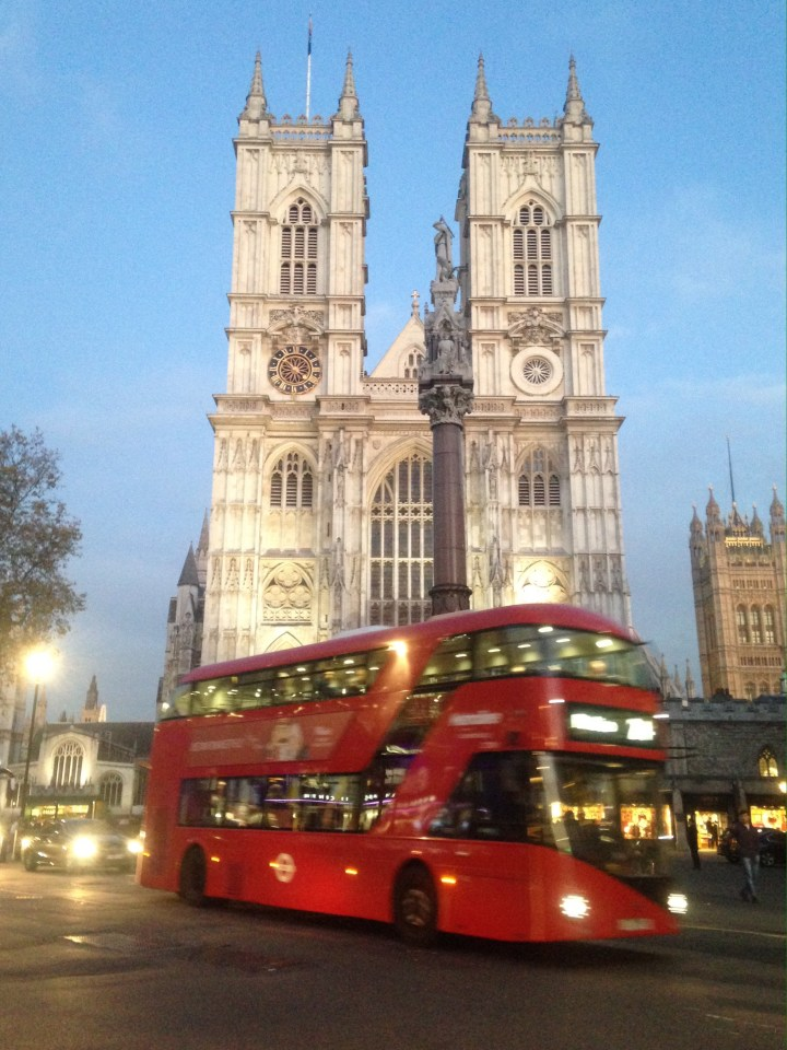 Westminster Abbey and a double decker London bus