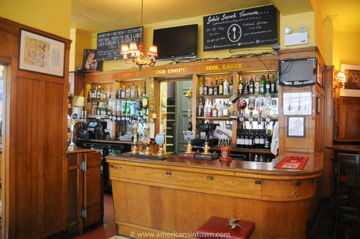 The main bar of The Coach and Horses, Soho