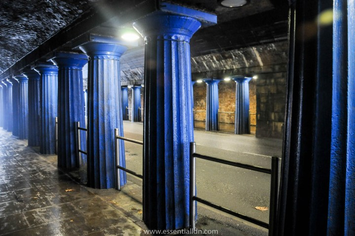 The 1836 fluted columns are a visible feature under the Greenwich Railway bridge at Abbey Street.