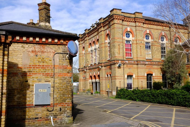 The entrance to the Lambeth Workhouse, built in 1873.