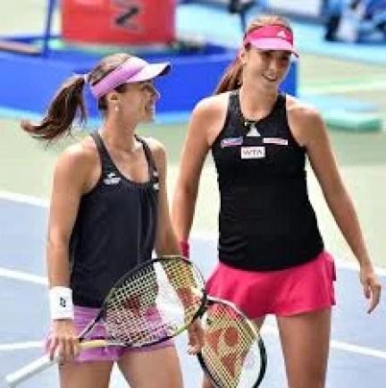 Belinda Bencic with her childhood idol, Martina Hingis