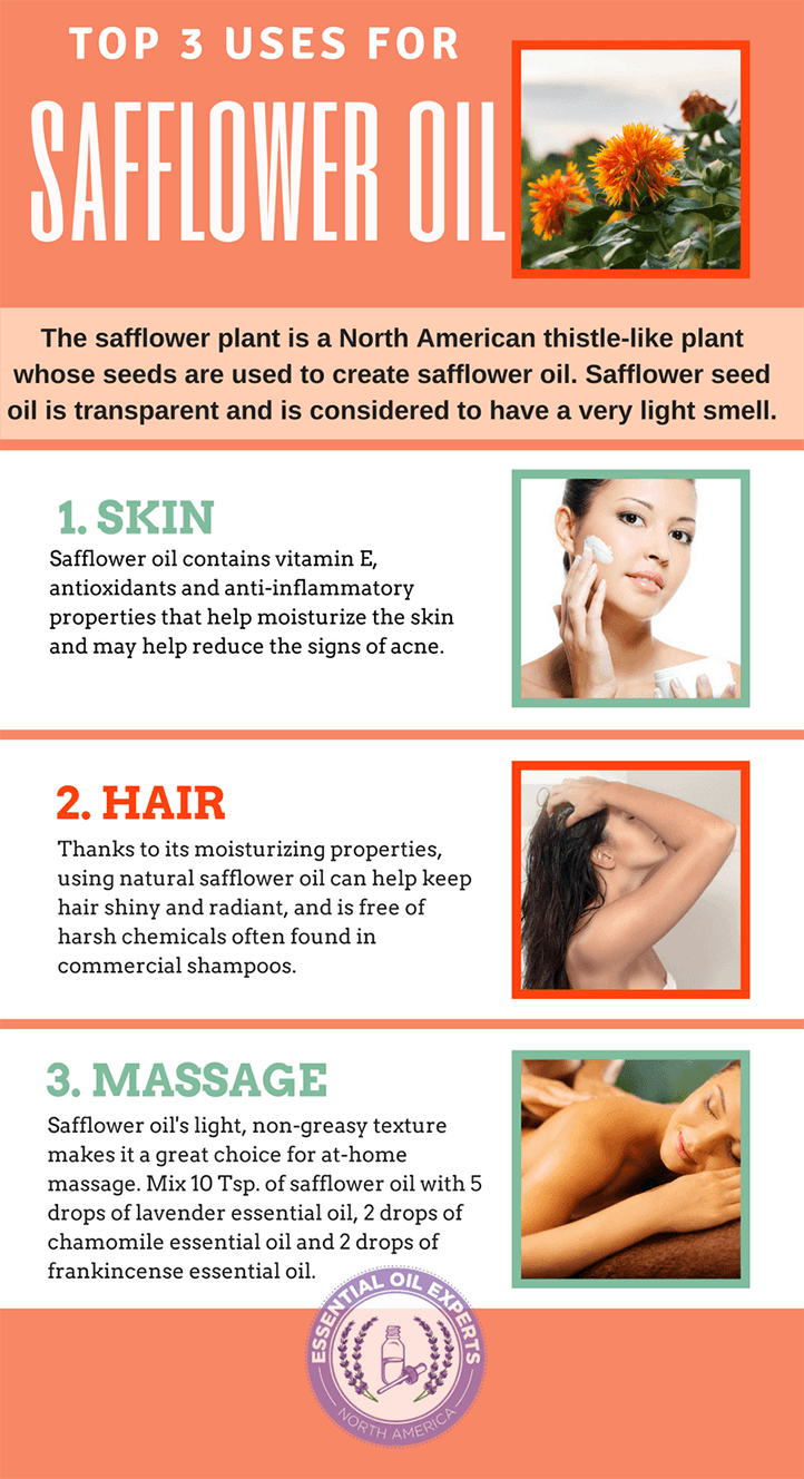 The benefits of safflower oil including safflower oil for skin and safflower oil for hair.