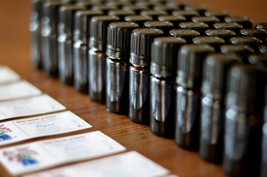 Essential oil bottles filled with wild thyme (Thymus capitatus) waiting for labels