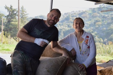 Christos Voloudakis, owner of the olive factory and his happy client Joelle!
