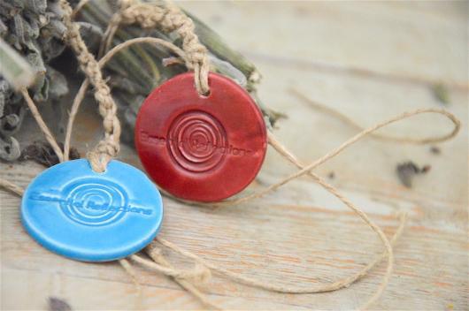 Greek sage smudge, light blue & deep red ceramic medal