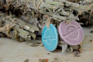 Greek sage smudge, turquoise & light purple ceramic medal