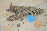 Greek sage smudge, light blue & caramel ceramic medal