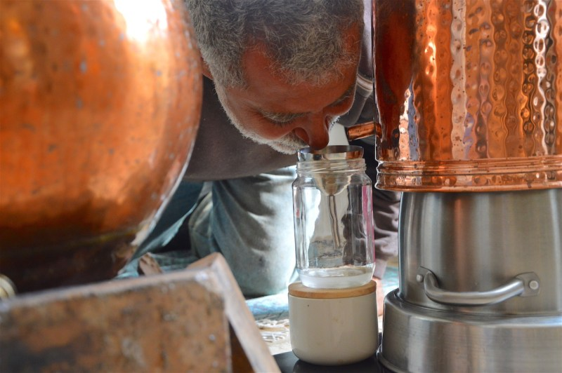 Manolis scent experience during distillation, April 2017