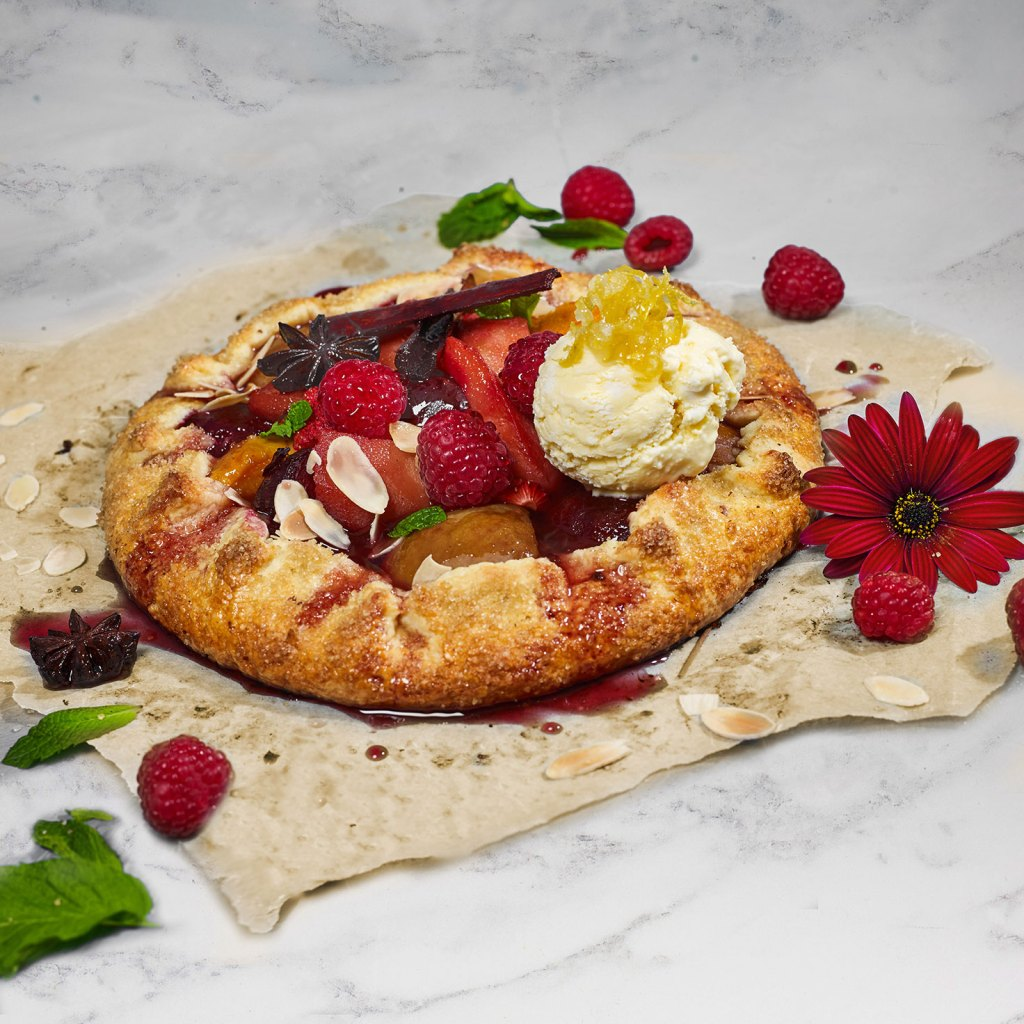 Poached Fruit Crostata Tart with Lemon Ricotta Ice cream