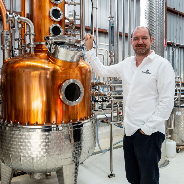 JimmyRum founded James McPherson up close and personal with Matilda the copper still