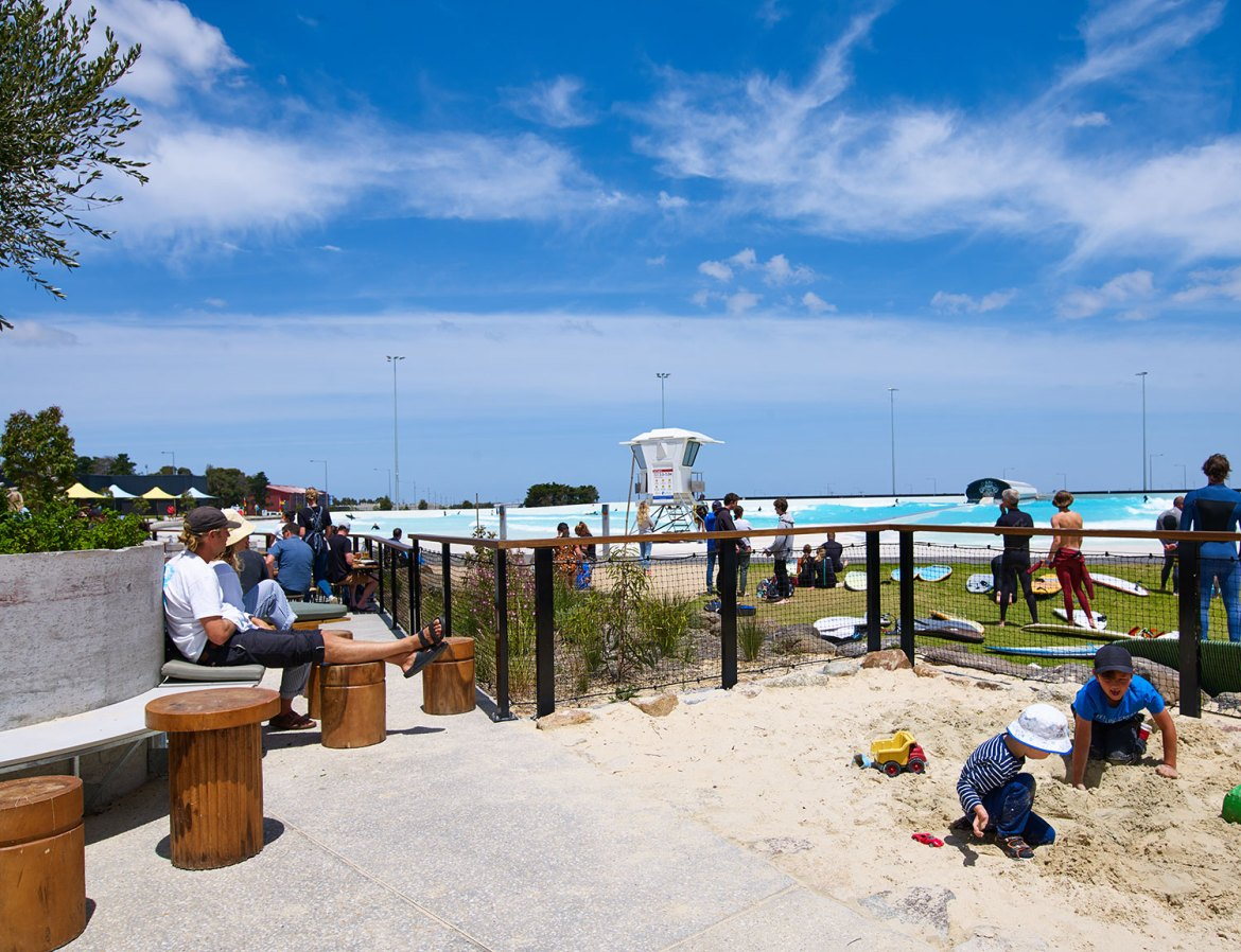 Kids can play it safe in the sandpit at URBNSURF