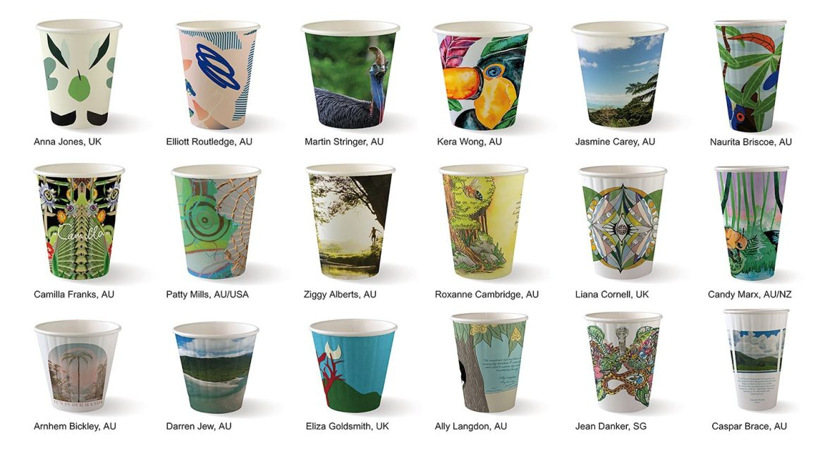 Rainforest Rescue's BioPak Art Series cups have launched internationally