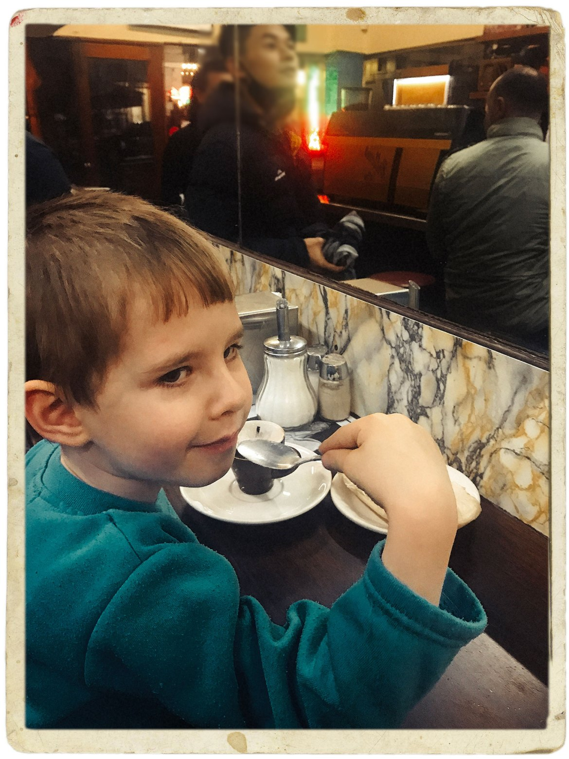 Elisey Durrant's first proud and pleasing trip to Pellegrini's Espresso Bar