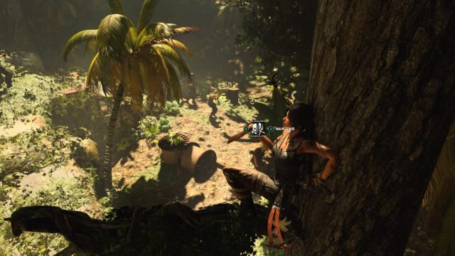 Un ajout sympathique dans Shadow of tomb Raider, les éliminations furtives en hauteur