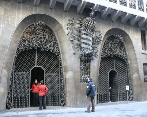 The entrance of Palau Guell is decorated with a wonderful wrought iron work.